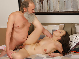 Lazy brunette uses hot body to seduce her old teacher.