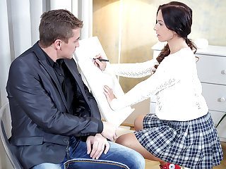 Christy gets her tricky old teacher to play with her clitoris before she rides him