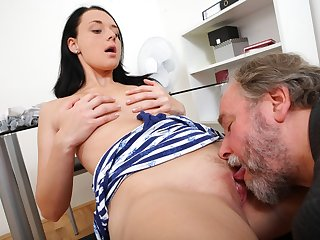 Tiffany may look innocent, but her dirty teacher soon takes this away